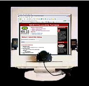 a computer monitor with eye tracking hardwardware installed
